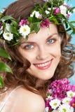 Woman in wreath Stock Photos