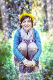 Woman with wreath of dandelions, retro filter Royalty Free Stock Images