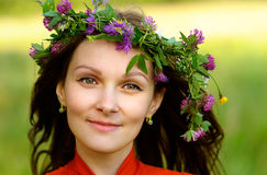 Woman with wreath on head Royalty Free Stock Images