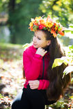 Woman with wreath on her head. Autumn, fall Royalty Free Stock Photos