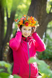 Woman with wreath on her head. Autumn, fall Royalty Free Stock Image