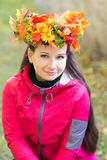 Woman with wreath on her head. Autumn, fall Royalty Free Stock Photo