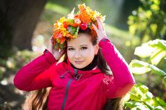 Woman with wreath on her head. Autumn, fall Stock Photo