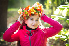 Woman with wreath on her head. Autumn, fall Royalty Free Stock Photography