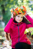 Woman with wreath on her head. Autumn, fall Royalty Free Stock Images