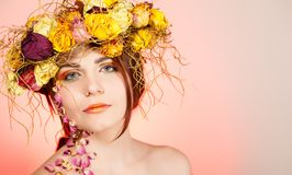 Woman with wreath on her head Royalty Free Stock Photos