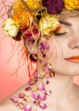 Woman with wreath on her head Stock Photography