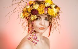Woman with wreath on her head Stock Images