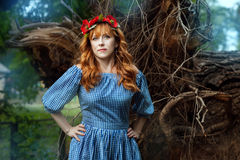 Woman with wreath on his head in the fairy forest. Woman with a wreath on his head in the fairy forest. She has red hair Stock Image