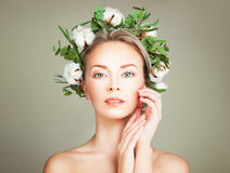 Woman with Wreath of Organic Leaves and Cotton Flowers Stock Photos