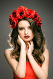 Woman with wreath of rose Royalty Free Stock Photos