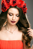 Woman with wreath of rose Royalty Free Stock Image