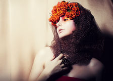 Woman in Wreath of Rowan Berries - Glamour Royalty Free Stock Photos