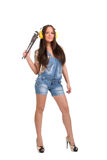 Woman with wrench Stock Images