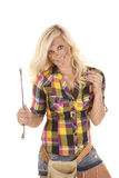 Woman wrench smile Royalty Free Stock Photos
