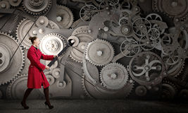 Woman with wrench Royalty Free Stock Photo