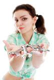 Woman with wrenchs Royalty Free Stock Photos
