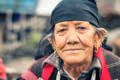 Woman with wrinkles in Himachal Pradesh Stock Photos