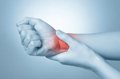 Woman with wrist pain stock images