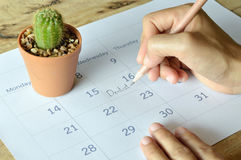 Woman write dentist appointment in calendar planner Stock Photography