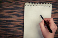 Woman write on notebook Royalty Free Stock Photography