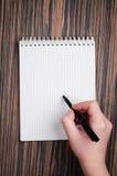 Woman write on notebook Stock Photos