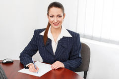 Woman write with pen Royalty Free Stock Photo