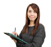 Woman write report Stock Images