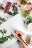 Preparation for Christmas with coffee and gifts Stock Photography