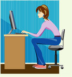 Woman writer working on computer Stock Images