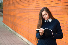 Woman writes in diary Stock Photos