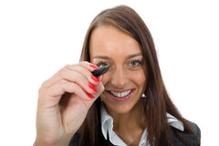 Woman writes on glass Royalty Free Stock Photography