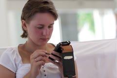 Woman writes letter Stock Photo