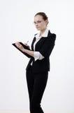 Woman writes something Stock Photo
