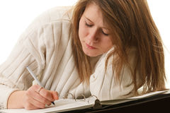 Woman writing Stock Photos