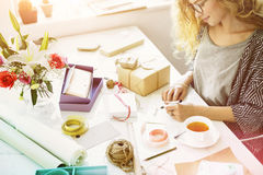Woman Writing Card Gift Present Concept Stock Image