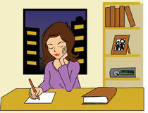 Woman Writing. Cartoon illustration of a woman sitting in a desk writing with pen or pencil, in a blank sheet of paper Royalty Free Stock Photography