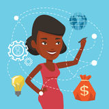 Woman writing cloud computing on virtual screen. African-american woman writing on virtual screen. Cheerful businesswoman drawing a cloud computing diagram on a Stock Image