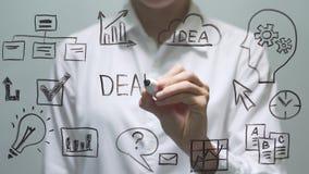 Woman writing DEADLINE on transparent screen. Businesswoman write on board. stock footage