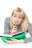 Woman writing diary Royalty Free Stock Images