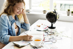 Woman Writing Diary Journey Travel Concept Stock Photos