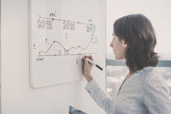 Woman writing on a flipchart at the office. Stock Photography