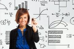 Woman writing formulas Royalty Free Stock Photography