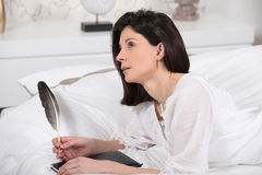 Woman writing her diary Royalty Free Stock Image