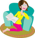 Woman writing in her diary. A cartoon vector illustration of a young woman who is writing down her thoughts in a diary, she's leaning against a green chair, and Royalty Free Stock Photo