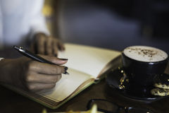 Woman writing her notebook Stock Photography