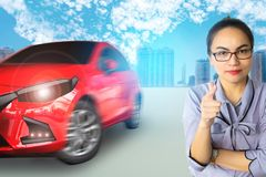 Woman writing note on car engine blurry background. for note, tr. Ansport image Royalty Free Stock Photo