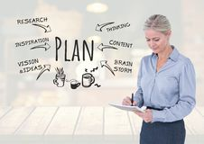 Woman writing on notepad and Plan text with drawings graphics. Digital composite of Woman writing on notepad and Plan text with drawings graphics Royalty Free Stock Image