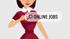 Woman is writing ONLINE JOB in search bar on virtual screen. Woman searches job. Online recruitment service. Vector illustration royalty free illustration