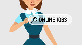 Woman is writing ONLINE JOB in search bar on virtual screen. Woman searches job. Online recruitment service. Vector illustration Stock Photos